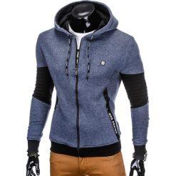 BLUZA MĘSKA ROZPINANA Z KAPTUREM B744 - GRANATOWA. Niebieskie bluzy męskie rozpinane marki Ombre Clothing, m, z bawełny, z kapturem. Za 79,00 zł.
