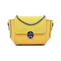 Torebki klasyczne damskie: Skórzana torebka w kolorze żółtym – (S)22 x (W)31 x (G)10 cm