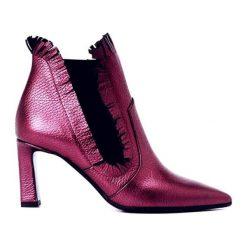 Botki damskie lity: Skórzane botki w kolorze różowym