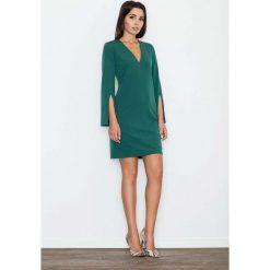 Zielona Sukienka Koktajlowa Mini z Rozciętym Rękawem. Zielone sukienki balowe marki Molly.pl, do pracy, l, mini, wyszczuplające. Za 134,90 zł.