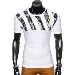 T-SHIRT MĘSKI Z NADRUKIEM S959 - BIAŁY. Czarne t-shirty męskie z nadrukiem marki Ombre Clothing, m, z bawełny, z kapturem. Za 29,00 zł.
