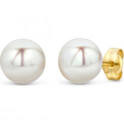 Złote kolczyki-wkrętki z perłami. Białe kolczyki damskie REVONI, z perłą, złote. W wyprzedaży za 215,95 zł.