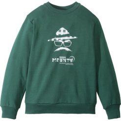 Bluza dresowa bonprix ciemnozielony z nadrukiem. Czarne bluzy chłopięce rozpinane marki bonprix, w paski, z dresówki. Za 37,99 zł.