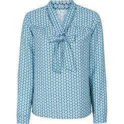 Bluzki damskie: Bluzka z krawatką bonprix jasnoniebieski wzorzysty