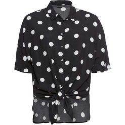 Bluzka z krótkim rękawem i przewiązaniem bonprix czarny w grochy. Czarne bluzki z odkrytymi ramionami marki bonprix, eleganckie, z krótkim rękawem. Za 74,99 zł.