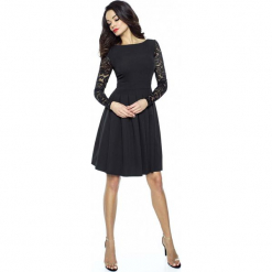 Czarna Wizytowa Sukienka z Koronkowym Długim Rękawem. Różowe sukienki koktajlowe marki numoco, l, z dekoltem w łódkę, oversize. Za 168,90 zł.
