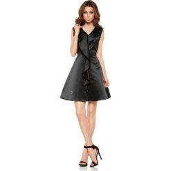 Czarna Imprezowa Sukienka z Falbanką. Białe sukienki balowe marki numoco, do pracy, l, z nadrukiem, z elastanu, z kopertowym dekoltem, z długim rękawem, kopertowe. Za 159,90 zł.