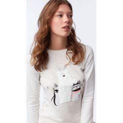 Etam - Top piżamowy. Szare piżamy damskie Etam, m, z nadrukiem, z bawełny. Za 99,90 zł.