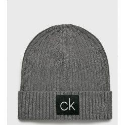 Calvin Klein - Czapka. Szare czapki zimowe męskie Calvin Klein, z bawełny. Za 159,90 zł.