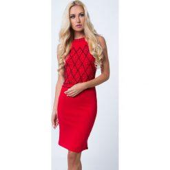 Sukienka z koralami czerwona 1587. Czerwone sukienki Fasardi, s. Za 79,20 zł.