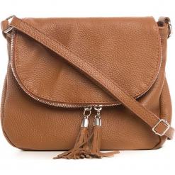 Skórzana torebka w kolorze brązowym - 24 x 17 x 4 cm. Brązowe torebki klasyczne damskie Anna Morellini, z aplikacjami, z materiału. W wyprzedaży za 217,95 zł.