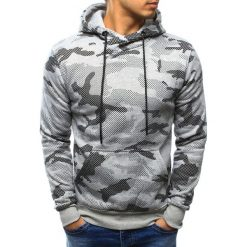 Bluzy męskie: Bluza męska camo szara z kapturem (bx3218)