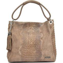 Torebki klasyczne damskie: Skórzana torebka w kolorze szarobrązowym – 35 x 45 x 14 cm