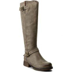 Oficerki JENNY FAIRY - WS17017 Beżowy. Brązowe buty zimowe damskie Jenny Fairy, z materiału, przed kolano, na wysokim obcasie, na obcasie. Za 149,99 zł.
