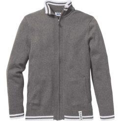 Sweter rozpinany Regular Fit bonprix szary melanż. Niebieskie kardigany męskie marki bonprix, z nadrukiem. Za 59,99 zł.
