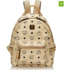 Plecaki damskie: Skórzany plecak w kolorze beżowym – 19,5 x 26 x 11 cm
