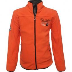 Kurtka polarowa w kolorze pomarańczowym. Brązowe kurtki chłopięce marki Peak Mountain, z aplikacjami, z polaru. W wyprzedaży za 85,95 zł.
