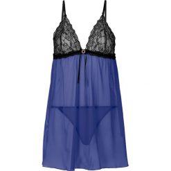 Koszulka nocna + stringi (2 części) bonprix szafirowo-czarny. Niebieskie koszule nocne i halki bonprix, w koronkowe wzory, z koronki. Za 79,99 zł.