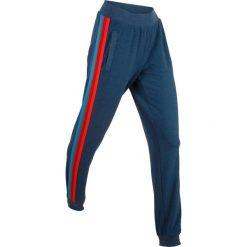 Spodnie dresowe damskie: Lekkie spodnie dresowe z kolorowym paskiem, długie bonprix ciemnoniebieski melanż