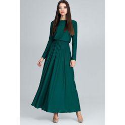 Zielona Zwiewna Sukienka Maxi z Podkreślona Talią. Niebieskie długie sukienki marki Molly.pl, na co dzień, l, z elastanu, z klasycznym kołnierzykiem, oversize. Za 149,90 zł.