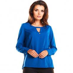 Niebieska Elegancka Koszulowa Bluzka z Wycięciem przy Dekolcie. Niebieskie bluzki koszulowe Molly.pl, l, biznesowe. Za 109,90 zł.