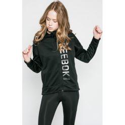 Reebok - Bluza. Szare bluzy sportowe damskie Reebok, m, z nadrukiem, z dzianiny, z kapturem. W wyprzedaży za 129,90 zł.