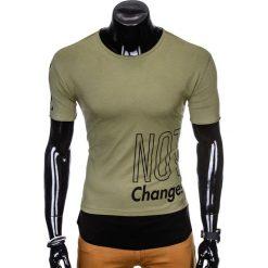 T-SHIRT MĘSKI Z NADRUKIEM S981 - KHAKI. Brązowe t-shirty męskie z nadrukiem Ombre Clothing, m. Za 29,00 zł.