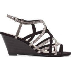 Rzymianki damskie: Sandały z paskami, metaliczny połysk