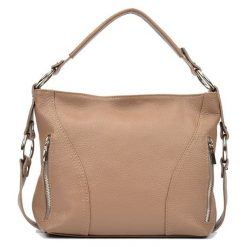 Torebki i plecaki damskie: Skórzana torebka w kolorze fango – (S)25 x (W)32 x (G)8,5 cm
