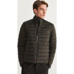 Pikowana kurtka biker - Khaki. Brązowe kurtki męskie pikowane marki LIGNE VERNEY CARRON, m, z bawełny. Za 169,99 zł.