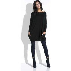 Swetry klasyczne damskie: Czarny Długi Sweter Bombka z Kieszeniami