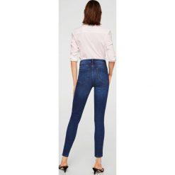 Mango - Jeansy Noa. Niebieskie jeansy damskie rurki Mango, z bawełny, z podwyższonym stanem. Za 119,90 zł.
