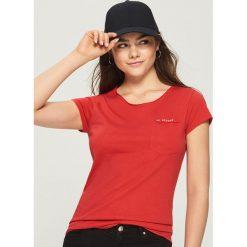 T-shirt z kieszenią - Pomarańczo. Szare t-shirty damskie Sinsay, l. Za 14,99 zł.