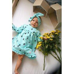 Sukienka turkus KROPELKI (bez opaski). Niebieskie sukienki dziewczęce Pakamera, z bawełny, z długim rękawem, długie. Za 93,00 zł.