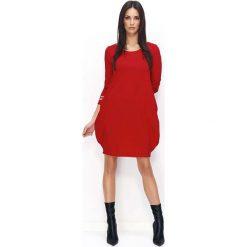 Czerwona Dresowa Mini Sukienka Bombka. Czerwone sukienki dresowe marki House, l, z napisami, sportowe, sportowe. Za 104,90 zł.