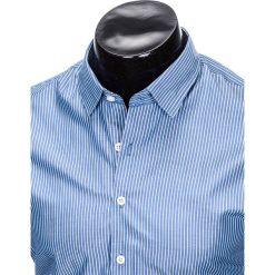 KOSZULA MĘSKA ELEGANCKA Z DŁUGIM RĘKAWEM K428 - BŁĘKITNA. Brązowe koszule męskie marki Ombre Clothing, m, z aplikacjami, z kontrastowym kołnierzykiem, z długim rękawem. Za 49,00 zł.