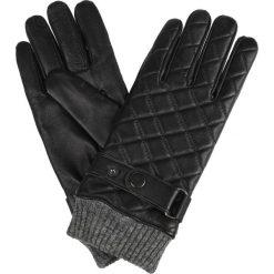 Rękawiczki Pikowane Czarne. Czarne rękawiczki męskie LANCERTO, w paski, ze skóry. W wyprzedaży za 139,90 zł.