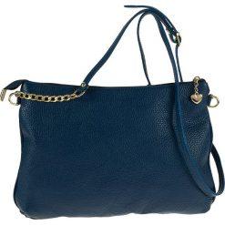 Torebki klasyczne damskie: Skórzana torebka w kolorze niebieskim – 30 x 21 x 4 cm