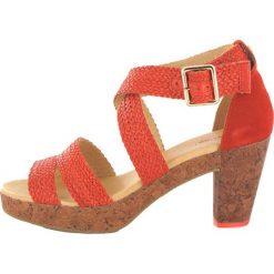 """Rzymianki damskie: Skórzane sandały """"Tahiti"""" w kolorze jasnobrązowo-czerwonym"""