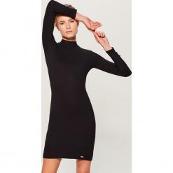 Sukienka mini z długimi rękawami - Czarny. Sukienki małe czarne marki bonprix, na ślub cywilny, z wełny, eleganckie, moda ciążowa. Za 79,99 zł.