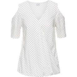 Bluzka z wycięciami, drukowana bonprix biel wełny - czarny z nadrukiem. Czarne bluzki z odkrytymi ramionami marki bonprix, z nadrukiem, z wełny. Za 37,99 zł.