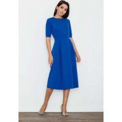 Niebieska Sukienka Elegancka Wizytowa Midi. Czarne sukienki balowe marki bonprix. Za 145,90 zł.