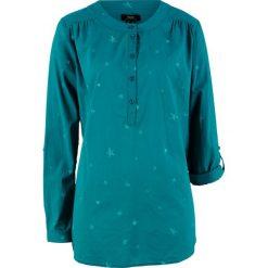 Bluzki, topy, tuniki: Tunika bawełniana z nadrukiem, długi rękaw bonprix kobaltowy z nadrukiem