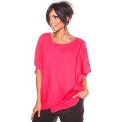 """Bluzki asymetryczne: Lniana koszulka """"Leny"""" w kolorze koralowym"""