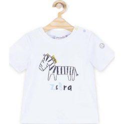Coccodrillo - T-shirt dziecięcy 68-86 cm. Białe t-shirty chłopięce z nadrukiem marki COCCODRILLO, m, z bawełny, z okrągłym kołnierzem. Za 39,90 zł.