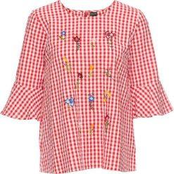 Bluzki damskie: Bluzka w kratę vichy, z haftem bonprix biel wełny – truskawkowy w kratę