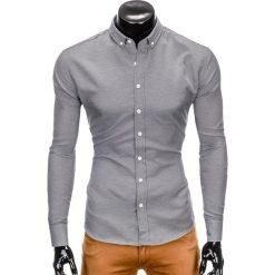 KOSZULA MĘSKA Z DŁUGIM RĘKAWEM K401 - CZARNA. Czarne koszule męskie na spinki Ombre Clothing, m, z długim rękawem. Za 69,00 zł.