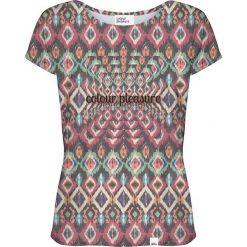 Colour Pleasure Koszulka damska CP-034 263 fioletowo-zielona r. XS/S. Fioletowe bluzki damskie Colour pleasure, s. Za 70,35 zł.