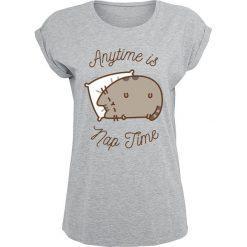 Pusheen Anytime Is Nap Time Koszulka damska odcienie szarego. Szare bluzki z odkrytymi ramionami marki Sinsay, l, z dekoltem na plecach. Za 79,90 zł.