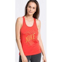 Nike - Top. Szare topy sportowe damskie Nike, l, z nadrukiem, z dzianiny, z okrągłym kołnierzem. W wyprzedaży za 49,90 zł.